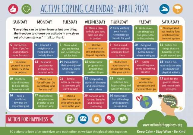 Action for Happiness: Active Coping Calendar